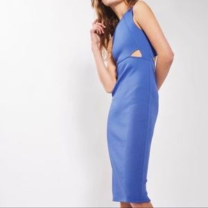 TOPSHOP Blue Cut Out Ribbed Bodycon Dress Size 6
